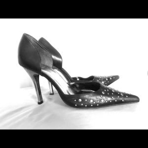 Black, Studded, Bakers' Heels. Womens' 8. Leather.